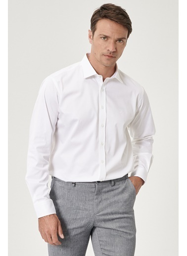 Beymen Business 4B2000000013 Regular Fit Gömlek Saten Beyaz